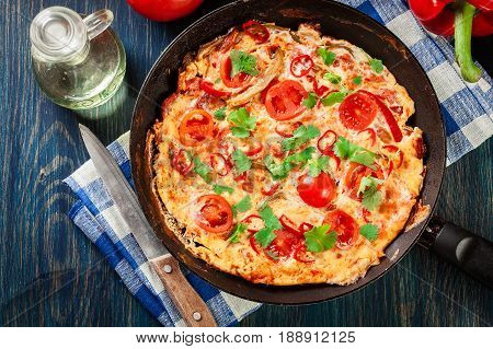 Frittata Made Of Eggs, Sausage Chorizo, Red Pepper, Green Pepper