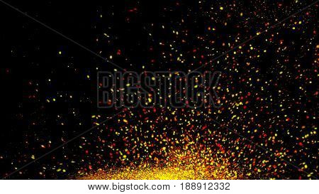 An Explosion Of Orange And Gold Embers Or Particles With Depth Of Field.