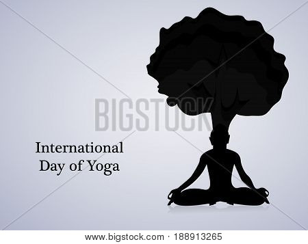 illustration of yoga posture under tree in black background with International Day of Yoga text