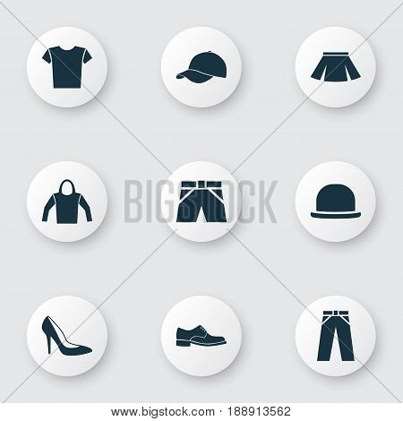 Garment Icons Set. Collection Of Pants, Trilby, Stylish Apparel And Other Elements. Also Includes Symbols Such As Sweatshirt, Hat, Fedora.