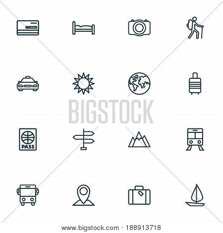 Journey Outline Icons Set. Collection Of Tram, Sunny, Bedstead And Other Elements. Also Includes Symbols Such As Passport, Pin, Bus.