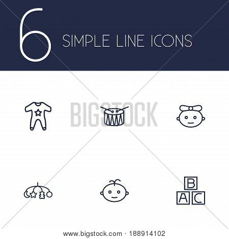 Set Of 6 Child Outline Icons Set.Collection Of Baby, Drum, Boy And Other Elements.