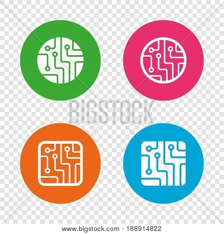 Circuit board icons. Technology scheme circles and squares sign symbols. Round buttons on transparent background. Vector