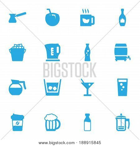 Set Of 16 Beverages Icons Set.Collection Of Fridge, Soda, Cocktail And Other Elements.