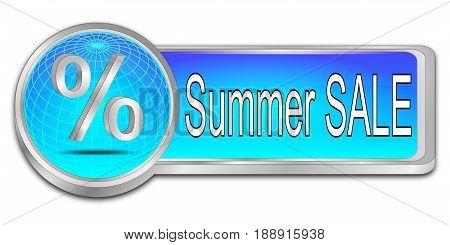 glossy blue Summer Sale Button - 3D illustration