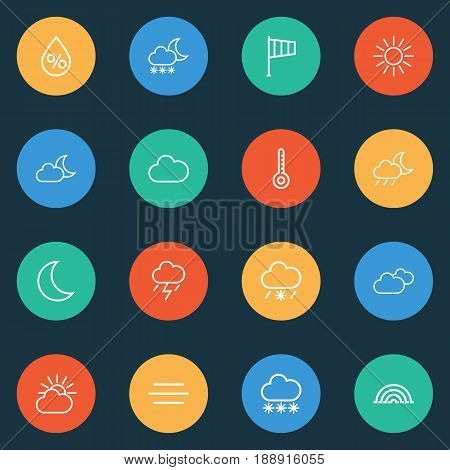 Meteorology Outline Icons Set. Collection Of Windsock, Lightning, Cloud Sky And Other Elements. Also Includes Symbols Such As Drizzle, Snowy, Thermostat.