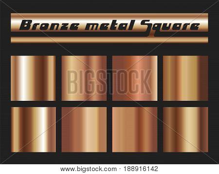 Bronze gradient square set. Metallic texture background. Vector illustration.