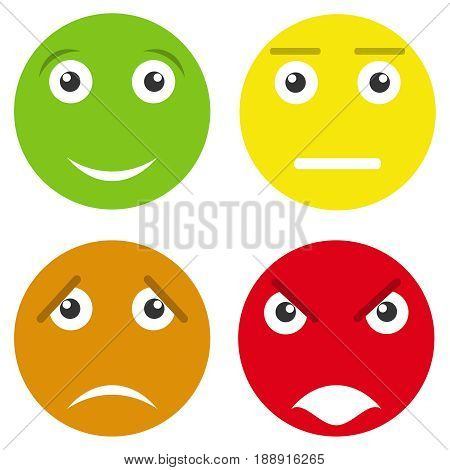 Smiling face evaluation. Flat design vector illustration vector.