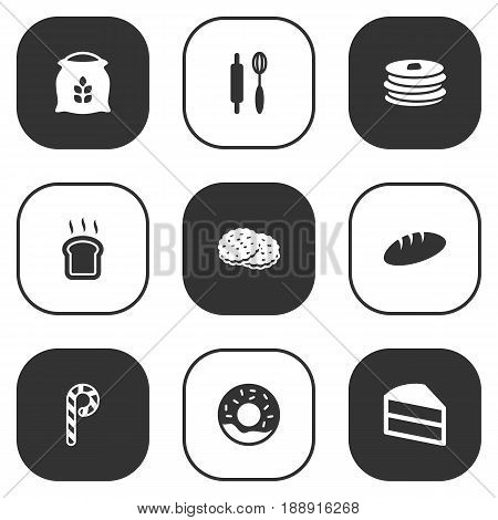 Set Of 9 Food Icons Set.Collection Of Slice Bread, Crepe, Doughnut And Other Elements.