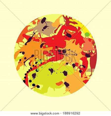 Red orange maroon artistic ink splashes vector background. Greeting card or invitation template with round frame
