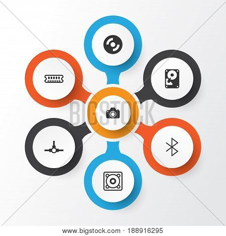 Computer Icons Set. Collection Of Camera, Hdd, Wireless Connection And Other Elements. Also Includes Symbols Such As Memory, Distribution, Stereo.