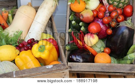 Boxes Of Fresh Vegetables And Fruits