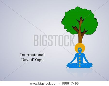 illustration of yoga posture under green tree with international day of yoga text