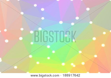 Light rainbow abstract low poly geometric background with defocused lights