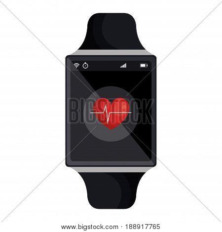 smartwatch with cardio app vector illustration design