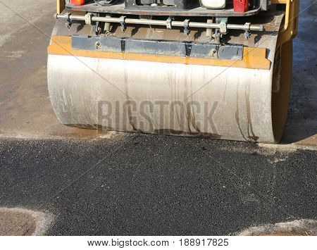 Steamroller During The Asphalt Laying On The Road Construction S