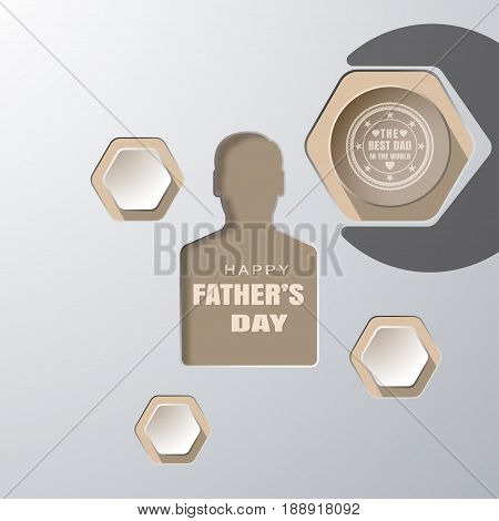 Happy Father's Day vector paper craft with man silhouette wrench silhouette round and hexagon shapes on the gradient gray background.