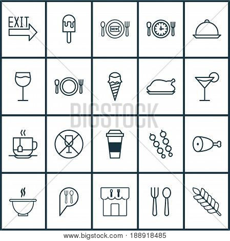 Restaurant Icons Set. Collection Of Fresh Dining, Wineglass, Doorway And Other Elements. Also Includes Symbols Such As Popsicle, Drink, Dining.