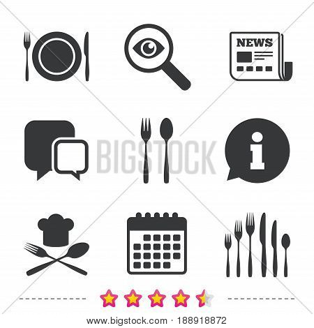 Plate dish with forks and knifes icons. Chief hat sign. Crosswise cutlery symbol. Dessert fork. Newspaper, information and calendar icons. Investigate magnifier, chat symbol. Vector