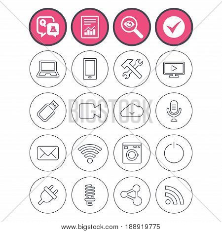 Question and answer, check tick and report signs. Devices and technologies icons. Notebook, smartphone and wi-fi symbols. Usb flash, video camera, microphone thin outline signs. Vector