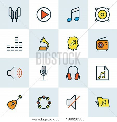 Audio Colorful Outline Icons Set. Collection Of Mixer, Loudspeakers, Strings And Other Elements. Also Includes Symbols Such As Cover, Soundtrack, Volume.