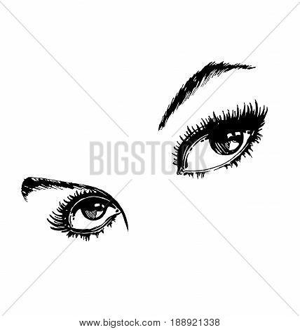 Hand drawn women's eyes vintage. Beautiful Woman's eyes. Vector illustration Fashion design