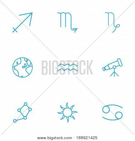 Set Of 9 Astrology Outline Icons Set.Collection Of Aqurius, Capricorn, Sagittarius And Other Elements.