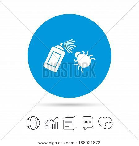 Bug disinfection sign icon. Fumigation symbol. Bug sprayer. Copy files, chat speech bubble and chart web icons. Vector poster