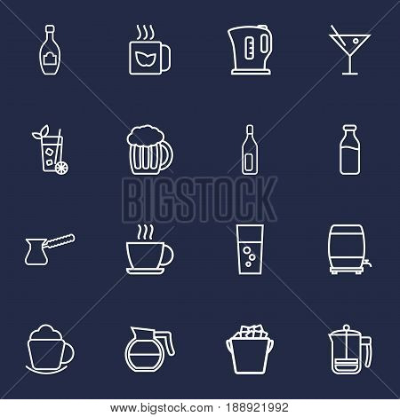 Set Of 16 Beverages Outline Icons Set.Collection Of Hot Drink, Fizzy Water, Ice Bucket And Other Elements.