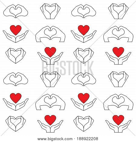Pattern from hand and red heart icons set. Vector background to denote love and health.