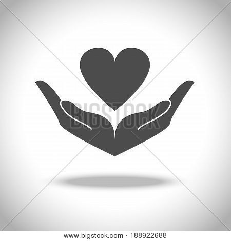 Hand and heart icon. Vector elements to denote love and health.