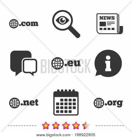 Top-level internet domain icons. Com, Eu, Net and Org symbols with globe. Unique DNS names. Newspaper, information and calendar icons. Investigate magnifier, chat symbol. Vector