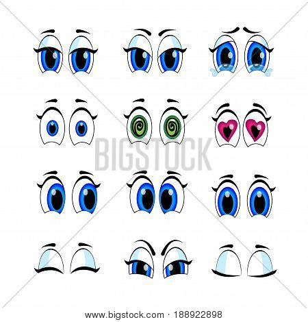 Illustrations Of Different Expressions. Eyes, Eyebrows, Emotions.