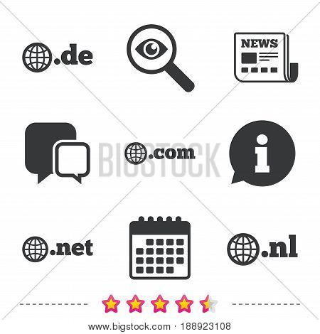 Top-level internet domain icons. De, Com, Net and Nl symbols with globe. Unique national DNS names. Newspaper, information and calendar icons. Investigate magnifier, chat symbol. Vector