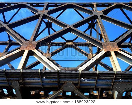 metal construction of old railway bridge, composition that can be used as a background