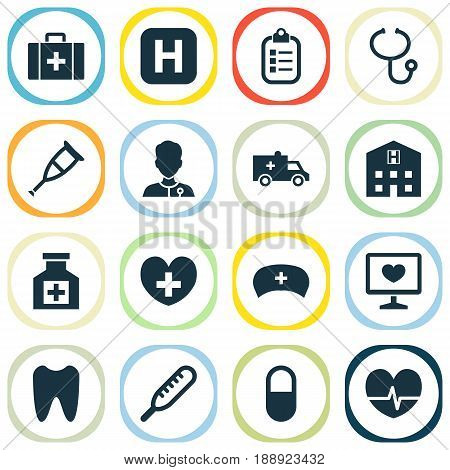 Antibiotic Icons Set. Collection Of Retreat, Review, Spike And Other Elements. Also Includes Symbols Such As Ache, Infirmary, Rhythm.