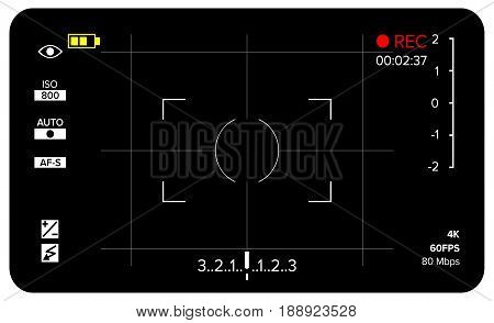 Camera Viewfinder Vector. Modern Camera Focusing Screen With Settings. Digital, DSLR. Camera Recording