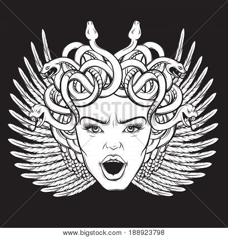 Vector illustration of gorgon with wings snakes and open mouth in hand drawn cartoon realistic style. Artwork hand sketched. Template for postcard banner poster placard print for t-shirt.