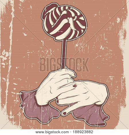 Vector illustration of woman mouth biting lollipop and hands made in hand drawn cartoon style. Artwork in pop art style. Template for card poster banner print for t-shirt.