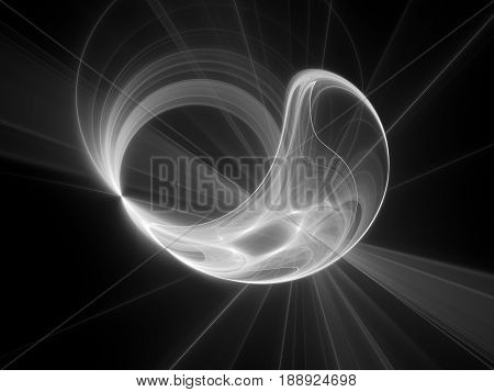 Glowing plasma disc in space texture computer generated abstract intensity map background black and white 3D rendering