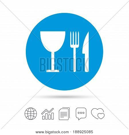 Eat sign icon. Cutlery symbol. Knife, fork and wineglass. Copy files, chat speech bubble and chart web icons. Vector