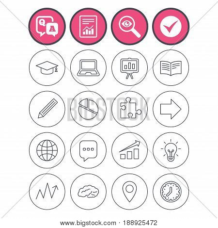 Question and answer, check tick and report signs. Education icons. Graduation cap, pencil and book symbols. Notebook, presentation and speech bubble thin outline signs. Vector