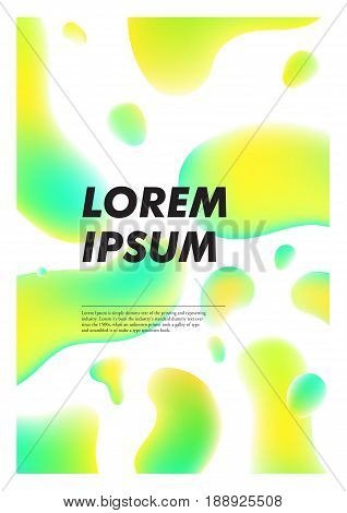 Vertical abstract background with liquid bright plasma drops. Cover template with colorful fluid shapes. Vector poster with place for text