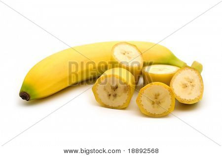 slice banana on white background