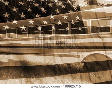 School bus and american flag vintage background