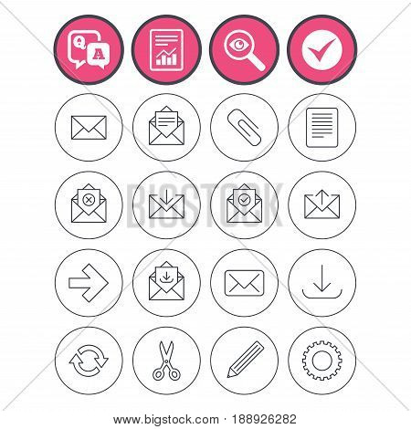 Question and answer, check tick and report signs. Mail services icons. Send mail, paper clip and download arrow symbols. Scissors, pencil and refresh thin outline signs. Vector