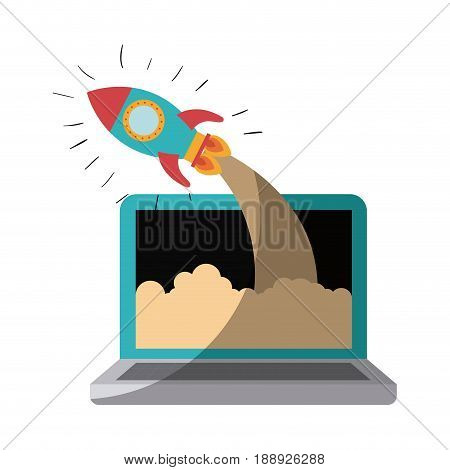 colorful silhouette of laptop computer and space rocket without contour and shading vector illustration