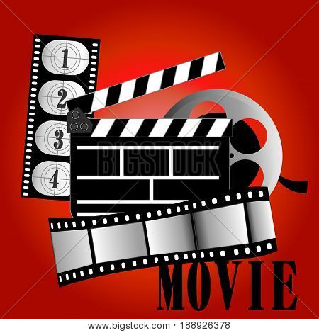 Movie items vector illustration film reel on background
