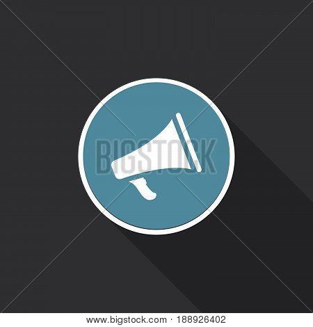 Bullhorn icon vector isolated on black .
