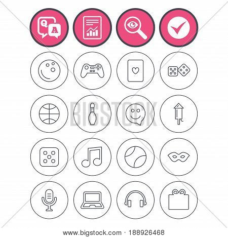 Question and answer, check tick and report signs. Entertainment icons. Game console joystick, notebook and microphone symbols. Poker playing card, dice and mask thin outline signs. Vector
